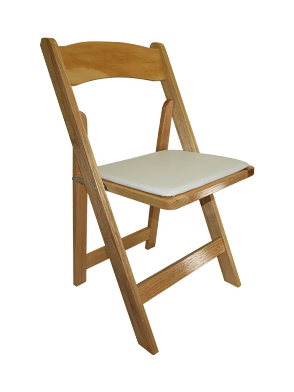 Merveilleux Natural Wood Folding Chair W/ Padded Seat